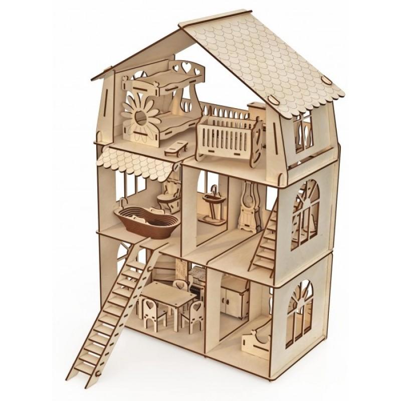 ХэппиДом Конструктор-кукольный домик Коттедж с мебелью Premium