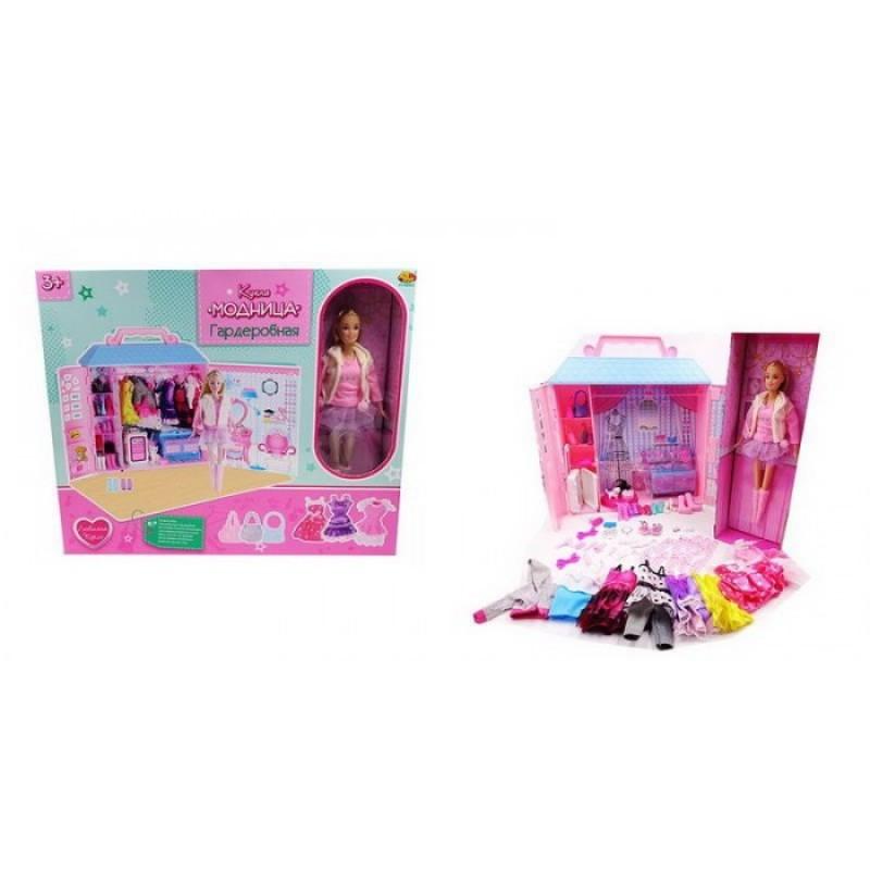 ABtoys Кукла Модница с гардеробной 30 см (84 предмета)