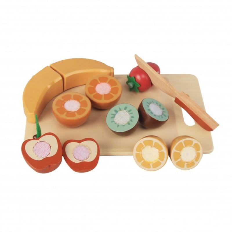 Деревянная игрушка Magni Набор фруктов на разделочной доске