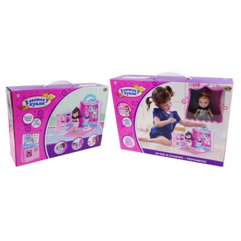 ABtoys Дом кукольный в сумочке-переноске В гостях у куклы