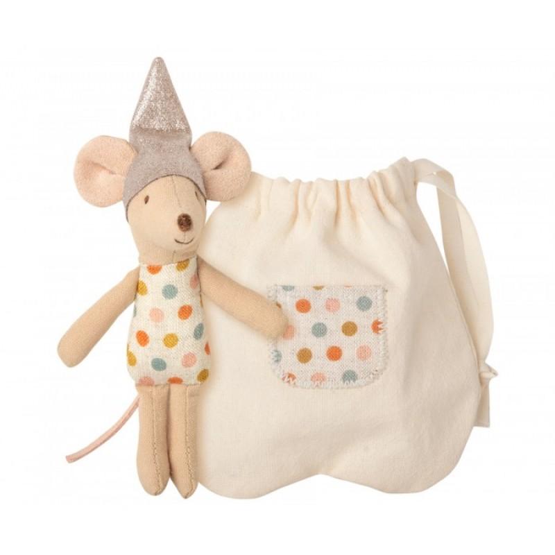 Мягкая игрушка Maileg Мышка Зубная фея с мешочком для первого зубика маленькая