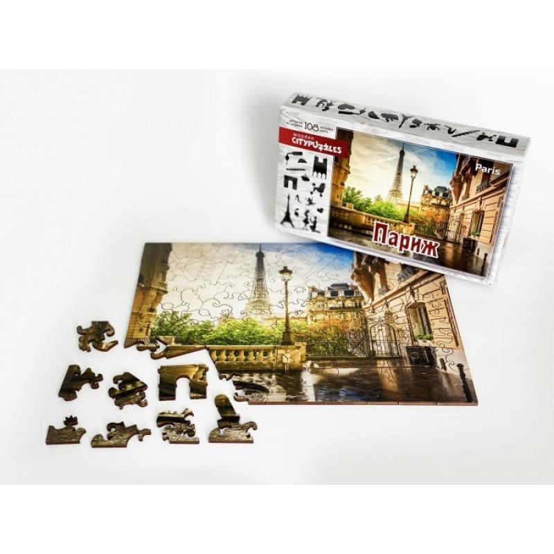 Нескучные Игры Деревянный пазл Citypuzzles Париж