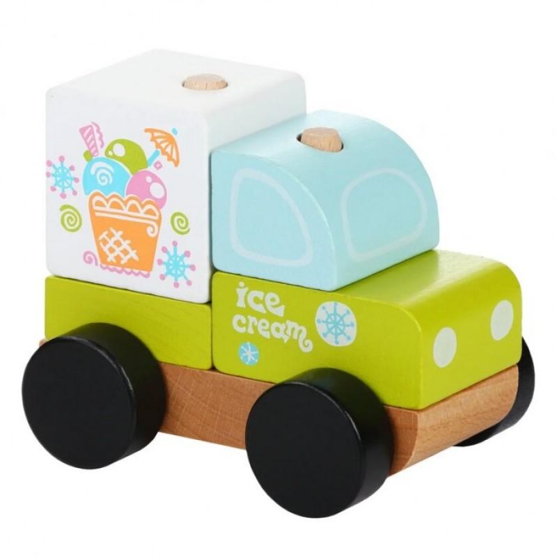 Деревянная игрушка Cubika Машинка-конструктор Экспресс-мороженное LM-8 (5 деталей)